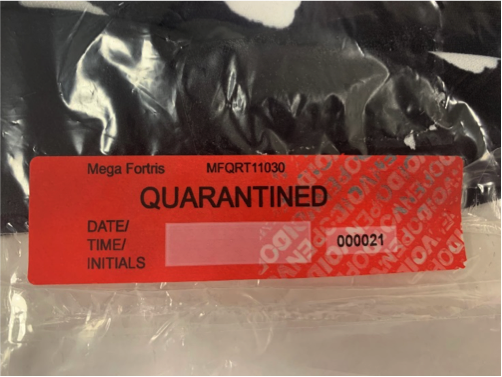 Retail quarantine security label stickers void tamper evidence